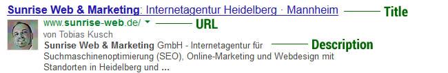 Google Snippet von Sunrise Web & Marketing