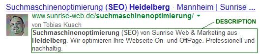 Google Snippet von Sunrise Web & Marketing für die Suche nach Suchmaschinenoptimierung Heidelberg