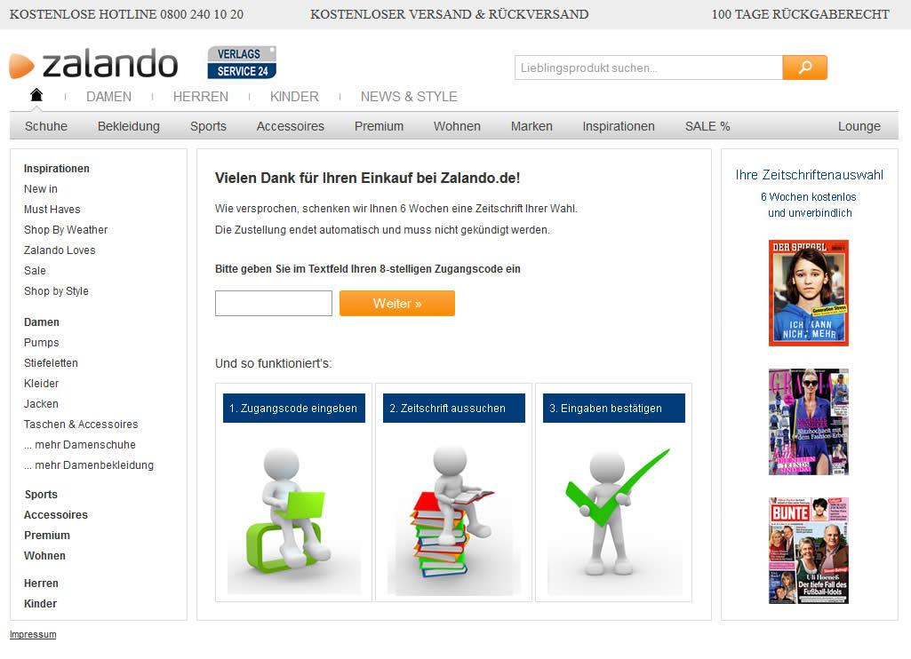 Webdesign Projekt MeinZalando.de
