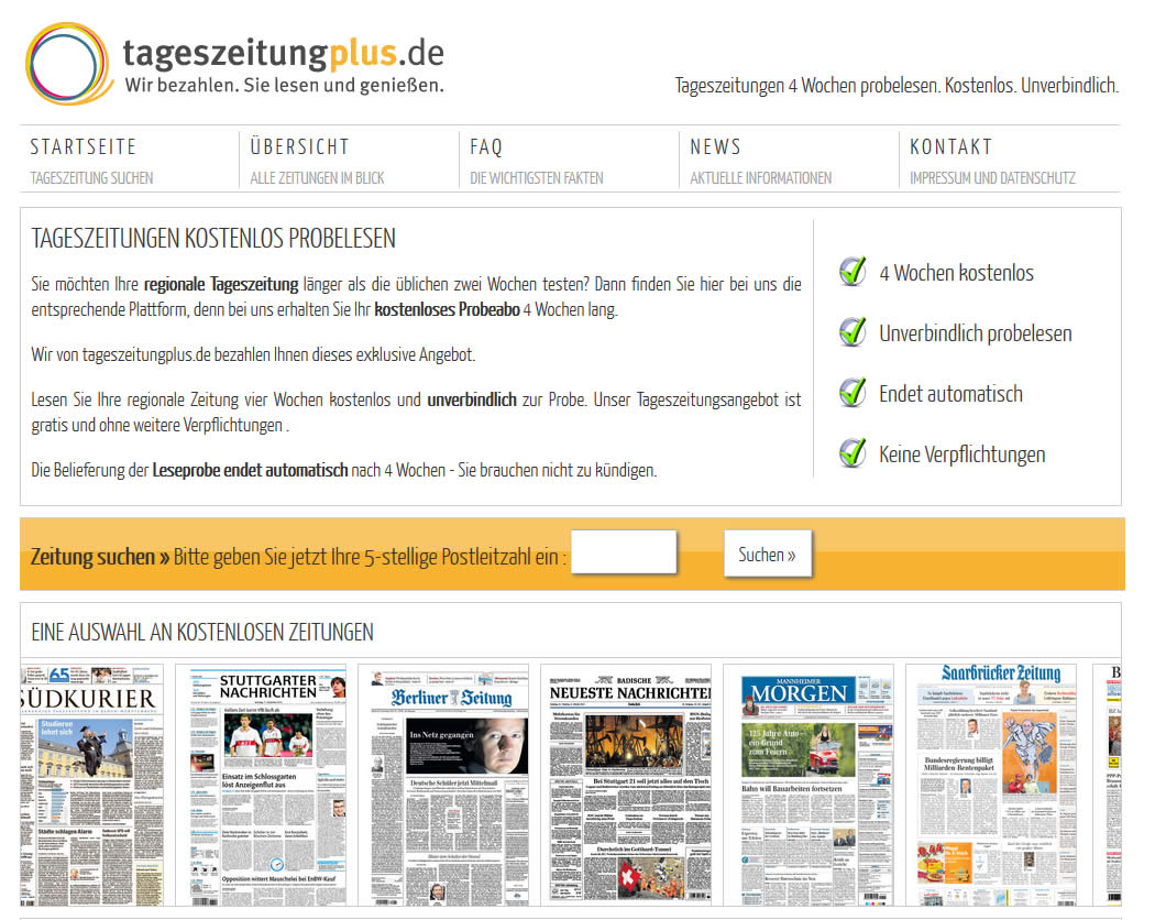 Webdesign Onlineshop Tageszeitung Plus